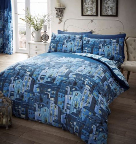 Rural Italy Printed Complete Duvet Cover Set - Teal